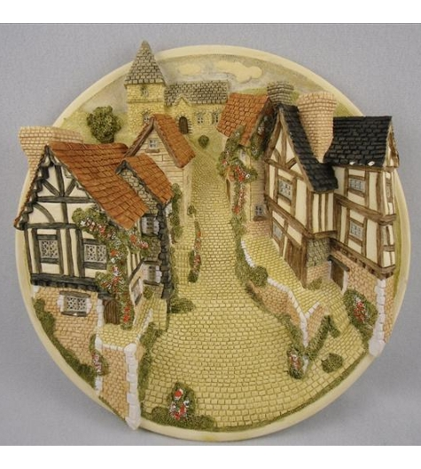 Street Scene Bas-Relief Collectors Guild Plaque (Imperfect)