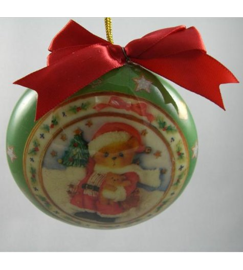 Green Ornament With Santa And Tree
