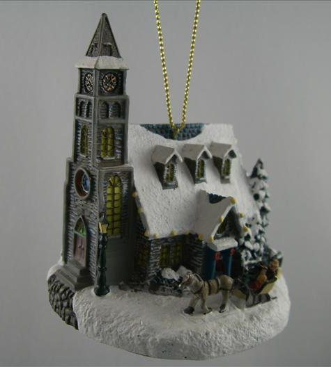 Moonlit Village Church Ornament