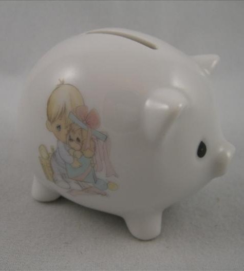 Boy With Dog In Gift Box Piggy Bank