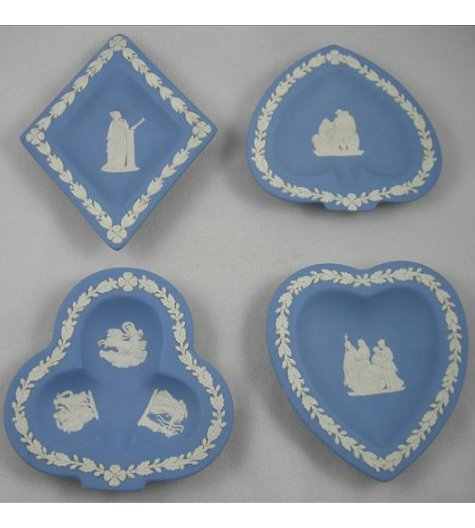 Blue Jasperware Playing Card Suit Dishes